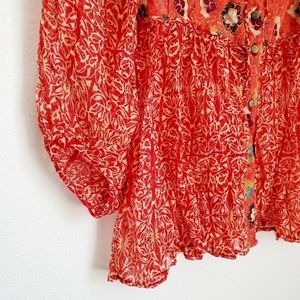 Free People Tops - Free People Button Down Floral Sheer Boho Top